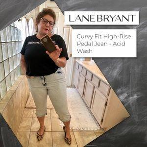 Lane Bryant High-Rise Acid Wash Pedal Jeans NWT